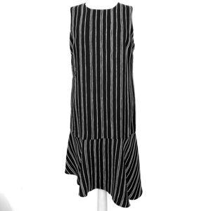 Black/white stripes asymmetrical hemline dress